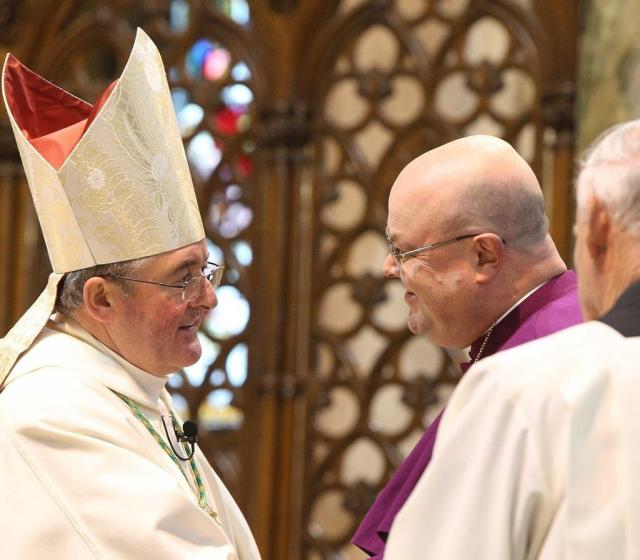 On Sunday 27th January, 2013, the Church of Ireland Bishop of Cork, Cloyne and Ross, the Right Reverend Paul Colton attended the Episcopal Ordination of the new Roman Catholic Bishop of Cloyne.  During the liturgy, Bishop Colton (right) greeted the new Bishop, the Most Reverend William Crean.