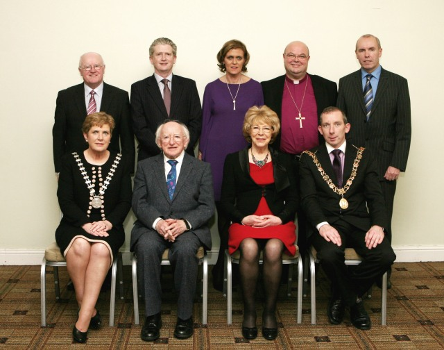 The Cork Person of the YEar AWards 2013.  Pictured following the Wards luncheon at the Rochestown Park Hotel are Front (l-r) Cllr Barbara Murray, Mayor of Cork County; The President of Ireland, Michael D. Higgins; Sabina Higgins,; Cllr John Buttimer, Lord Mayor of Cork; and Back row (l-r) Tony O'Connell (Tony O'Connell Photography); Martin Riordan, Cork County Manager; Geraldine O'Leary, Commercial Director, RTE Television; Bishop Paul Colton; and Tim Lucey, Cork City Manager.