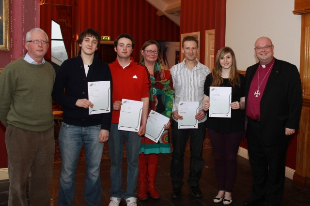Pictured following the presentation of FETAC Leaders in Training Certificates are (l-r) Ivan McMahon, YMCA; Conor Murray,  Carrigaline; Richard Anderson, Ross; Jean Roche, Bandon; Peter Coughlan, Carrigaline; and Amy Howe, Bandon; with Bishop Colton.  (Unable to attend but also qualified are Pearl Beamish and Caroline Bradfield).