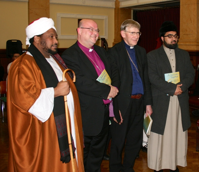 At the launch of 'A Journey Together' are (l-r) Sheikh Ihab Ahmad, Imam from Blarney Street Mosque, Cork; Bishop Paul Colton (Church of Ireland Bishop), Bishop John Buckley (Roman Catholic Bishop), and Dr Shaykh Umar al-Qadri Imam and President of Al-Muftah Islamic Educational Cultural Centre.