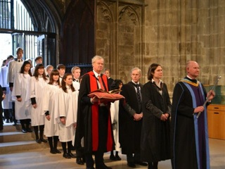 Cressida Williams (second from right) in the procession at Canterbury Cathedral.