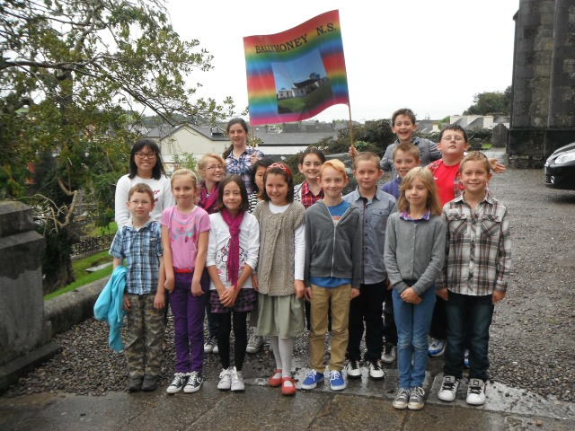 Pupils from Ballymoney National School outside the Church of St Peter, Bandon