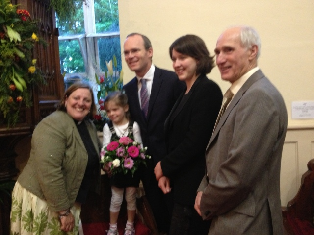 The Reverend Elaine Murray (left) welcomes the Minister for Agriculture, Marine and Food, Mr Simon Coveney, T.D. to St Mary's Church Carrigaline for the opening of the Pentecost Flower Festival - 'Fruit of the Spirit.'