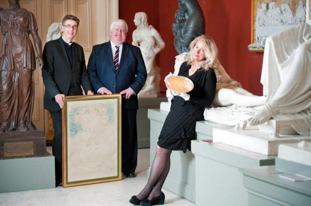 At the recent launch of the Bid for Saint Fin Barre's Auction in the Sculpture Gallery of the Crawford Gallery are l-r, the Dean of Cork (the Very Reverend Nigel Dunne), John Bowen (Chairman of the Auction Committee) and Virginia Teehan (Auction Committee).