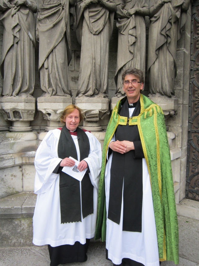 The Reverend Sue Watterson following her installation as Dean's Vicar at St Fin Barre's Cathedral, Cork, with the Dean of Cork, the Very Reverend Nigel Dunne.