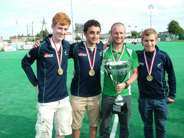 Irish u18s coach Graham Shaw (second from right) with gold medal-winning Douglas and Frankfield parishioners (l-r) Alex Burns, Gary Wilkinson and Simon Wolfe.