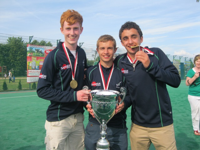 Deservedly proud of their international gold hockey medals (l-r) Alex Burns, Simon Wolfe and Gary Wilkinson.