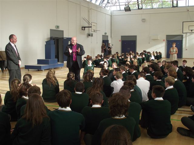 The Bishop gives a word of encouragement after assembly to new fifth years at Ashton.