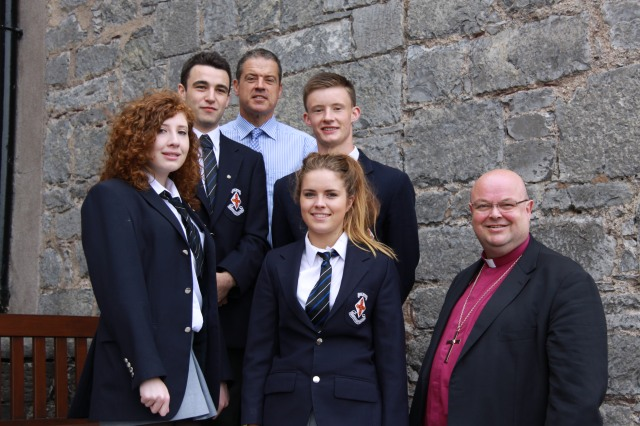 At Midleton College today, the Bishop (right) Dr Paul Colton, chats with the new senior prefects: l-r Olwyn Anthony (Senior Day Girl), David Wood (Senior Boarding Boy), Mr Simon Thompson (School Principal), Andrew McGregor (Senior Day Boy) and Jane Walsh (Senior Boarding Girl).