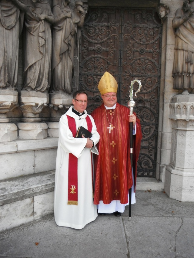The Reverend David White (left) following his ordination to the priesthood at St Fin Barre's Cathedral, Cork on Holy Cross Day, 14th September 2013, with the Bishop, following