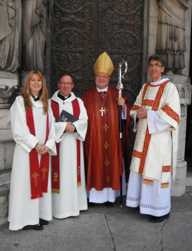 l-r The Reverend Lynda Peilow (Rector of Edenderry, Preacher at the Ordination); the newly ordained priest, the Reverend David White; the Bishop, and the Very Reverend Nigel Dunne, Dean of Cork.