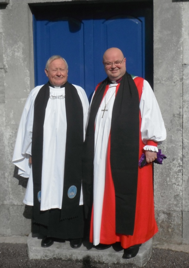 Canon Tom Sherlock is photographed following his installation as Chaplain of Kingston College with the Bishop of Cork, Cloyne and Ross.