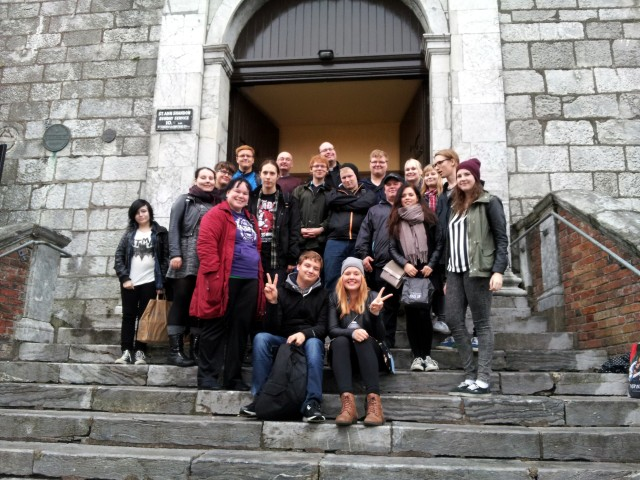 Our Finnish visitors on the steps of the Church of St Anne, Shandon following a visit with the Reverend Brian O'Rourke.