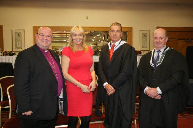 Miriam O'Callaghan was guest of Honour at Midleton College Prize Day on 11th October:  l-r the Bishop, Miriam, Simon Thompson (Principal) and Bud Morrissey (Deputy Principal)