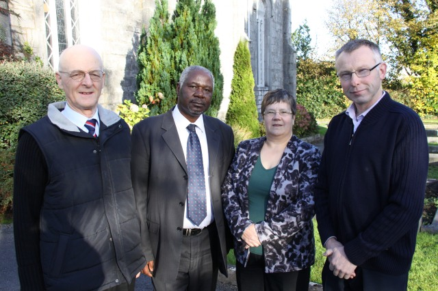 The four candidate Diocesan Readers outside Holy Trinity, Frankfield where they had their final training session with the Bishop himself.  (l-r, Patrick Culleton from Bandon, Emmanuel Adebisi from Mallow, Carole Pound from Skibbereen and Gordon Coombes from Clonakilty).