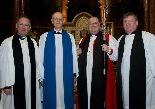 The Reverend David White (Curate, Bandon Union), Patrick Culleton, the Bishop and the Reverend Denis MacCarthy (Rector, Bandon Union). Photo: Neil Danton