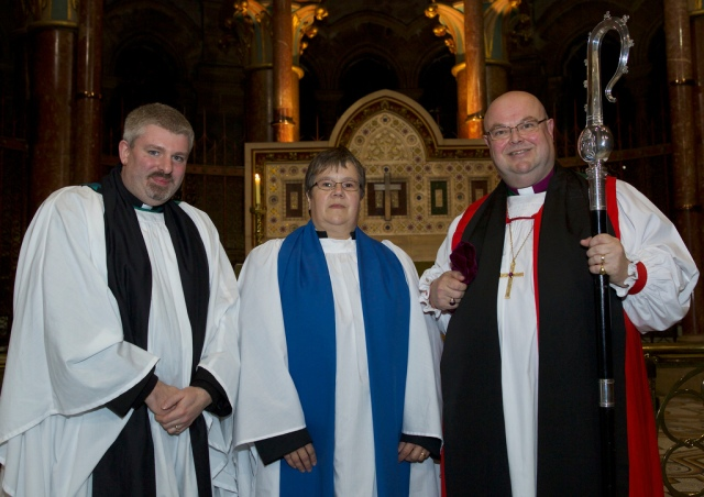 The Reverend John Ardis (Abbeystrewry Union), Carole Pound and the Bishop. Photo: Neil Danton