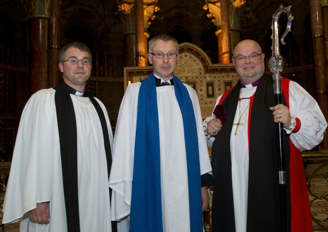 The Reverend Daniel Owen (KIlgariffe Union), Gordon Coombes, and the Bishop. Photo: Neil Danton