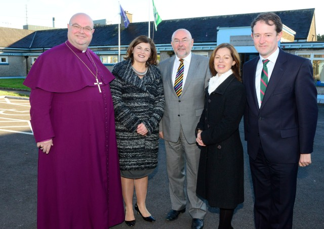 l-r the Bishop who is Patron of the School, Dr Paul Colton); Chairperson of the Board of Management, Mrs Daphne Spillane;, the Minister for Education and Skills, Mr Ruairí Quinn, T.D., School Principal, Ms Elma Huggard; and Minister of State, Sean Sherlock, T.D. (Photo: Andy Ferreira).