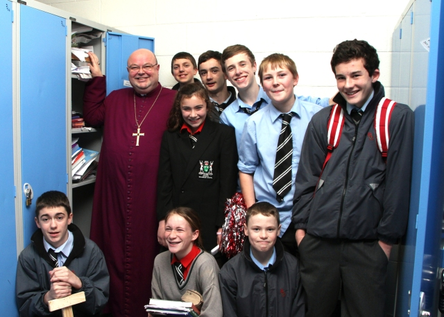 'Whose locker  is that? How would you find anything in there?' joked Bishop Colton with students from Bandon Grammar School