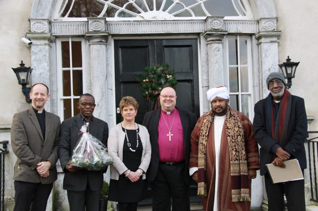 On Monday, 23rd December the leaders of the Muslim Foundation of Cork visited Bishop Paul and Mrs Susan Colton at The Palace to bring Christmas Greetings to members of the Church of Ireland.  The meeting was facilitated by the Diocesan Ecumenical and Interfaith Adviser, the Reverend Daniel Nuzum