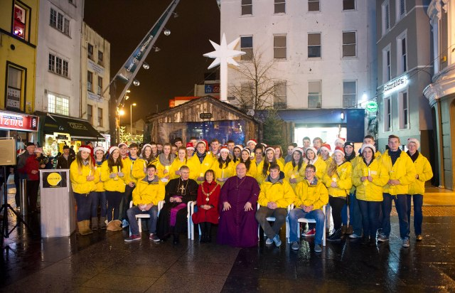 The SHARE Students are joined by the Lord Mayor of Cork Councillor Catherine Clancy, Bishop Buckley and Bishop Colton.  (Photo: Ger McCarthy)