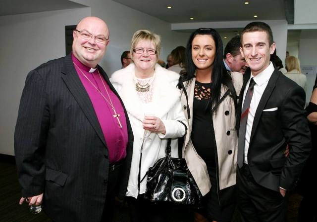 World Champion, Rob Heffernan (Cork Person of the Year), with his wife Marian, mother-in-law Angela Andrews (a volunteer at St Luke's Home, Cork), and Bishop Paul Colton before the Cork Person of the Year Award lunch.