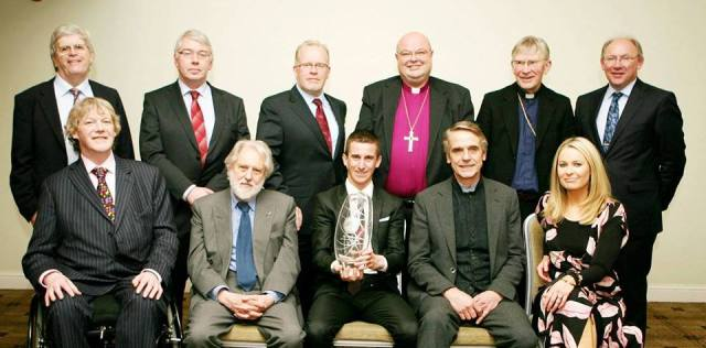 Pictured at the Cork Person of the Year Awards - front row (l-r), Brian Crowley, M.E.P.;  David, Lord Puttnam; Rob Heffernan (Cork Person of the Year); Jeremy Irons (honorary Corkman); and Sharon Ní Bheoláin (RTE New, Six-One); and back row, (l-r) Manus O'Callaghan (Awards Organiser), Tom Crosbie (Irish Examiner); Willie O'Reilly (Group Commercial Director, RTE); Bishop Paul Colton; Bishop John Buckley; and Tom Murphy (Chief Executive, Irish Examiner).