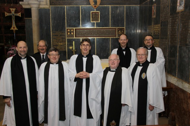 The Dean and Chapter of the Cathedral Church of St Fin Barre, Cork.  Front row: l-r the Precentor, the Very Reverend Alan Marley; the Chancellor, the Very Reverend Christopher Peters; the Dean of Cork, the Very Reverend Nigel Dunne; the Archdeacon of Cork, Cloyne and Ross, the Venerable, Robin E. Bantry White; the Treasurer, the Reverend Canon David Williams.  Back row l-r Mr John Jermyn, Chapter Clerk; the Reverend Canon Daniel Nuzum; and, the Reverend Canon Paul Willoughby.  Photo:  Paul Colton.
