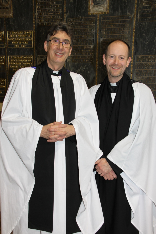 Canon Daniel Nuzum (right) with the Dean of Cork, the Very Reverend Nigel Dunne, following the installation.  Photo:  Paul Colton