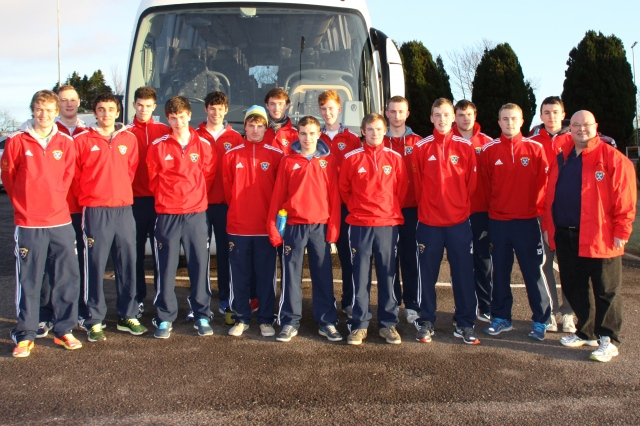 Bishop Paul Colton (right) with the Munster Men's under 21 Hockey Team.