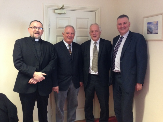 David Sutton (second from right) pictured with (from left) Canon Paul Willoughby, chairperson of the board of management of Bandon Grammar School, Sean Crowley (deputy principal) and Bill Skuse, chairperson of the board of governors.