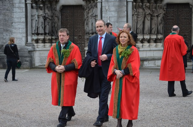 The Leader of the Opposition, Micheál Martin, T.D. accompanied by Councillor Tony Fitzgerald and Councillor Lorraine Kingston. (Photo:  David Barry)