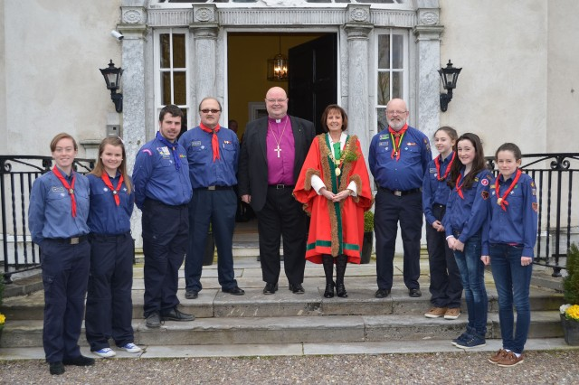 2nd Cork (St Fin Barre's) Scouts and Leaders with the Bishop and the Lord Mayor at The Bishop's Palace after the St Patrick's Day Service.  (Photo:  David Barry).