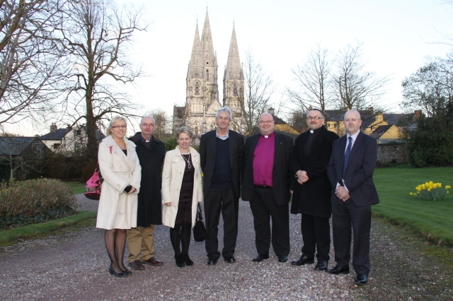 Members of the Cork, Cloyne and Ross Diocesan Education Committee wiht Professor Brian Bocking: l-r Ms Fiona Giles, the Reverend Brian O'Rourke, Ms Olwen Anderson, Professor Brian Bocking, the Bishop, Canon Paul Willoughby, and Mr Noel Locke.