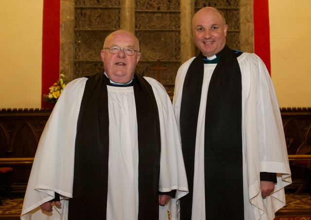 The former Archdeacon, the Venerable Robin Bantry White (left) with the new Archdeacon of Cork, Cloyne and Ross, the Venerable Adrian Wilkinson.