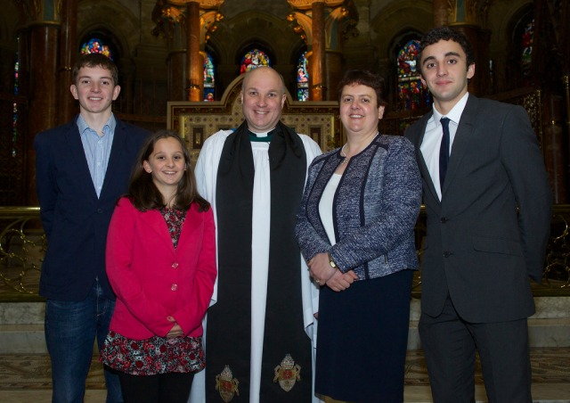 The new Archdeacon of Cork, Cloyne and Ross, the Venerable Adrian Wilkinson (centre), wiht his family l-r Darren, Emma, the Archdeacon, Mrs Jacqui Wilkinson, and Gary, following the Archdeacon's licensing  and installation  Photo:  Neil Danton.