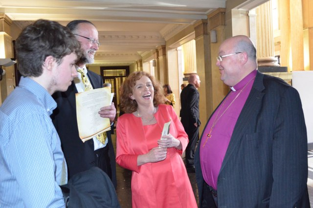 Bishop Colton chats with Cllr Lorraine Kingston and her family at Cork City Hall following the conferring of the Freedom of Cork on President Michael D. Higgins.