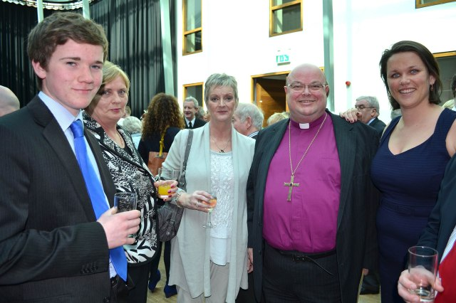 l-r Barry O'Brien (Chairman, Young Fine Gael, Cork South-Central), Regina Donnelly (Friends of Marymount Hospice), Paula Dorney, Bishop Colton and Councillor Laura McGonigle at the reception following the special meeting of Cork City Council. (Photo:  David Barry)