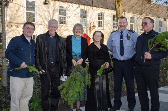 The Rev. Daniel Owen,  Mgr. Aidan O'Driscoll, the Rev. Daphne Twinem (Methodist Church West Cork Circuit), Cllr. Phil O'Regan, a representative of An Garda Síochána,and  Fr. Edward Collins prepare to lead the 'Three Churches' Ecumenical Palm Sunday Walk in Clonakilty, County Cork