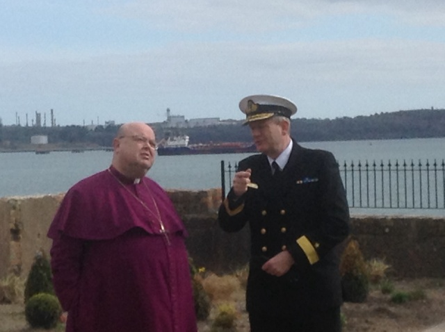The Bishop of Cork, Cloyne and Ross, Dr Paul Colton, chats with Commodore Hugh Tully of the Irish Naval Service after the dedication.  (Photo:  Brian O'Reilly)