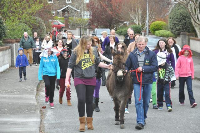 Palm Sunday, 2014 - on the way to the Church of St Mary, Carrigaline led by Billy the donkey!