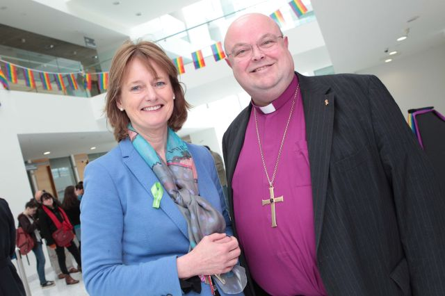 Senator Deirdre Clune and Bishop Paul Colton chat at the launch of Cork LGBT Awareness Week in Cork Civic Offices (Photo: Diane Cusack)