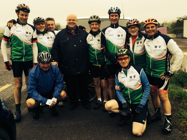 Meeting up with the Castleknock Cyclists on the road between Durrus and Drimoleague, Co. Cork.