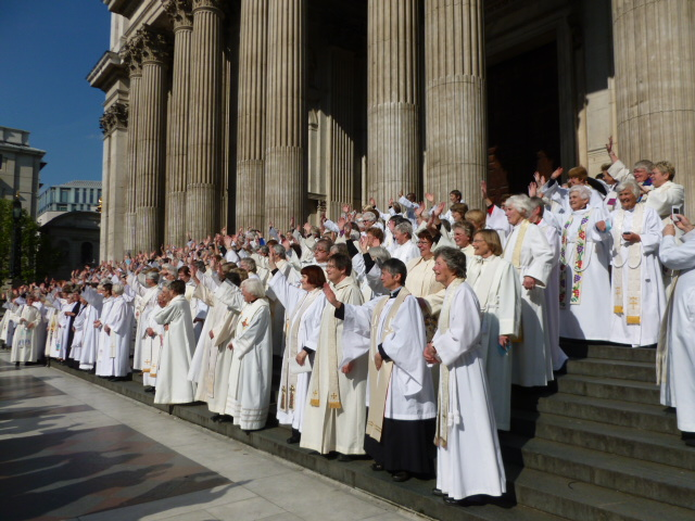 Part of the group photo of the 700 women priests on the steps of St Paul's Cathedral who attended the celebrations