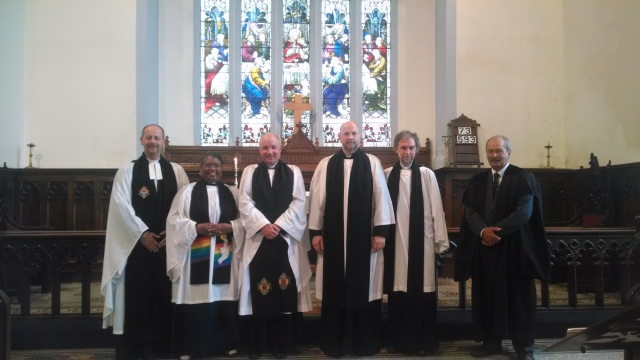 Photographed following the installation of the Archdeacon of Cork, Cloyne and Ross in CLoyne Catheral are (l-r): Canon Daniel Nuzum, the Reverend Eileen Cremin (Rural Dean), the Archdeacon, the Very Reverend Alan Marley (Dean of Cloyne), Canon Ian Jonas and Mr John Jermyn (Diocesan Registrar).