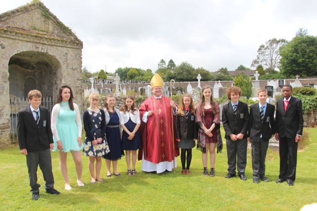 Young People of Carrigaline Union with the Bishop at Pentecost following their Confirmation.