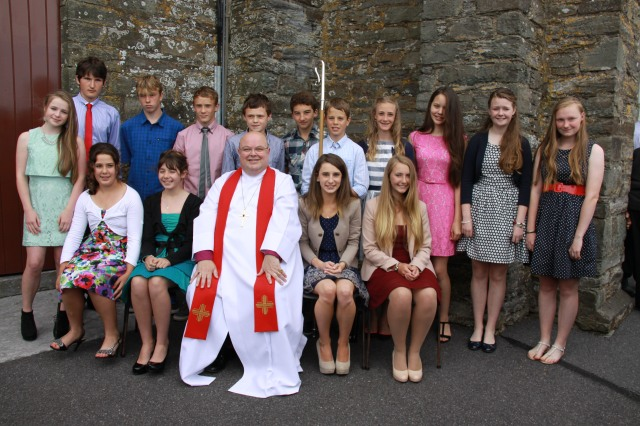 Young people from the Kilgariffe Union of Parishes who were confirmed by the Bishop on St Peter's Day