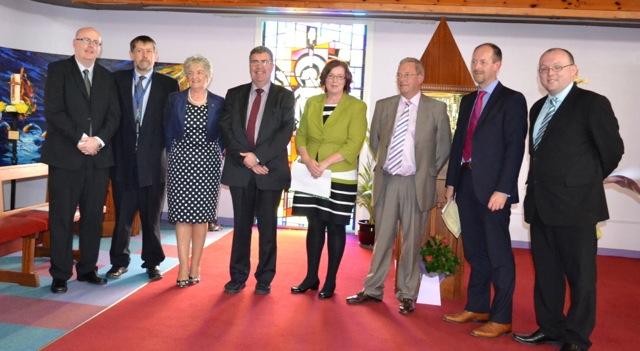 At the presentation of CPE awards recently were (L-R Mr Damien Quigley, Rev Bruce Pierce (Chairperson ACPE Irl), Sr Mary Jo Corcoran, Director CPE Programme CUH, MR Pat Nugent, Ms Tara Kavanagh, Mr Tony McNamara, CEO, CUH Group, Canon Daniel Nuzum, Mr James O'Reilly.