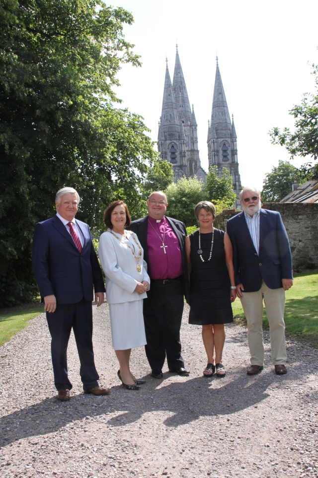 At the annual courtesy call of the Lord Mayor of Cork to the Bishop of Cork are (l-r): Mr Dan Buddy (Acting Cork City Manager;, the Lord Mayor of Cork, Cllr Mary Shields; the Bishop of Cork, the Right Reverend Dr Paul Colton; Mrs Susan Colton, and Mr Michael Shields.